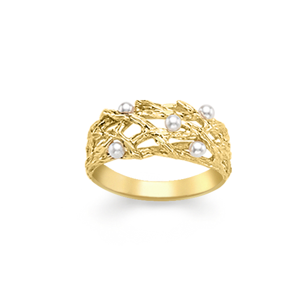 Yellow gold pearl willow ring
