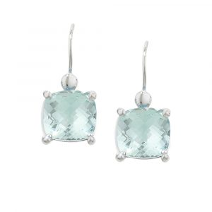 White gold green amethyst cushion drop earrings