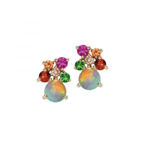 Yellow gold multi stone Harlequin earrings