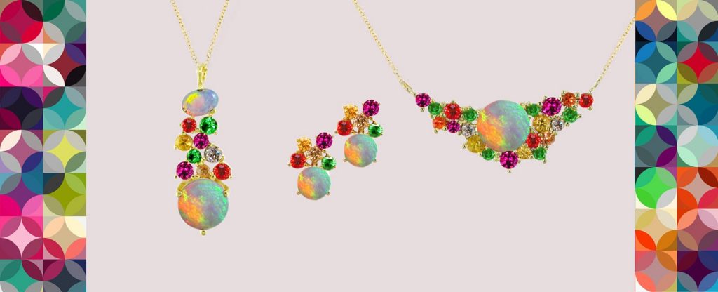 Yellow gold multi gem necklace pendant earrings