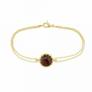 Yellow gold garnet bracelet