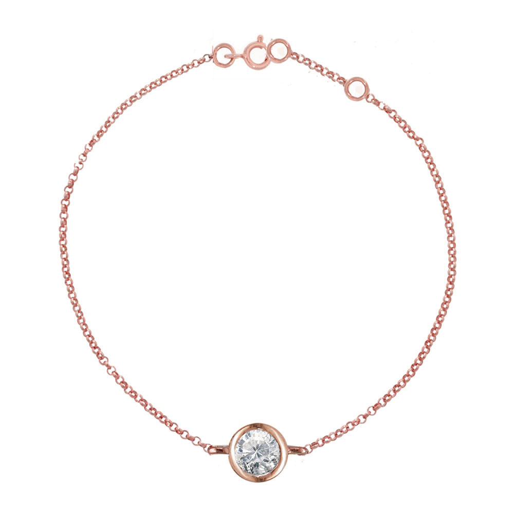 Rose gold diamond solitaire bracelet