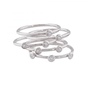 White gold diamond stacking rings