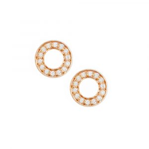 Rose gold diamond Meridian circle earrings