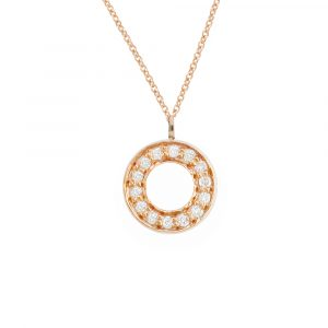 Rose gold diamond Meridian circle pendant