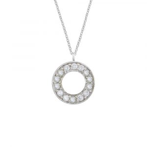 White gold diamond Meridian circle pendant