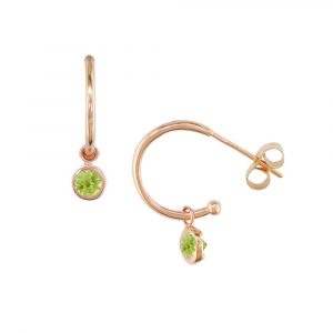 Rose gold peridot hoop earrings