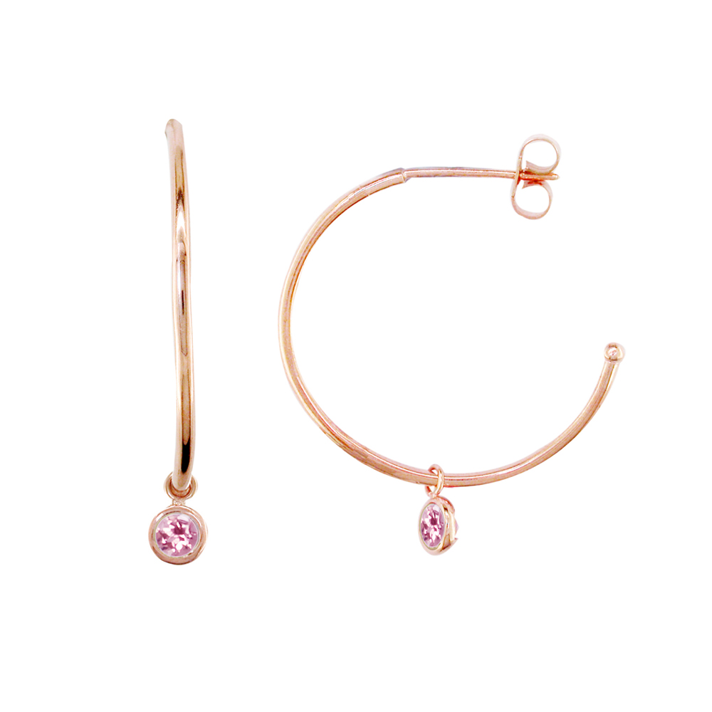 London Road Jewellery Modern Rose Gold Pink Tourmaline Dew Drop Hoops qVgNvXwtSN