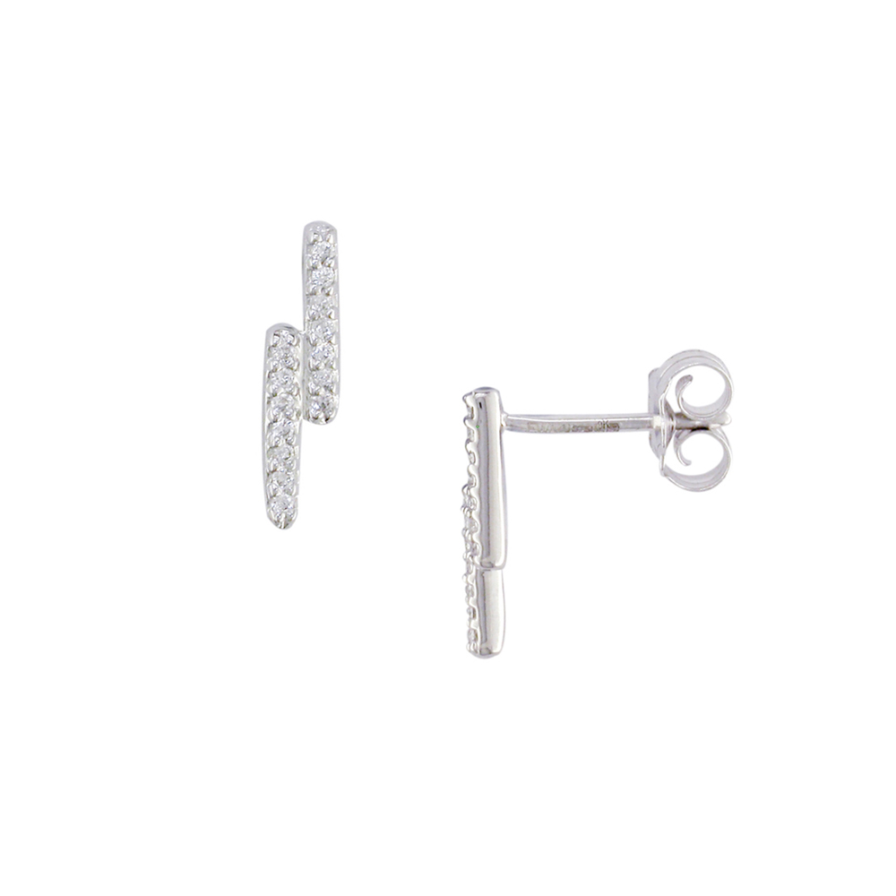 London Road Jewellery White Gold Diamond Geo Stud Earrings yxszv