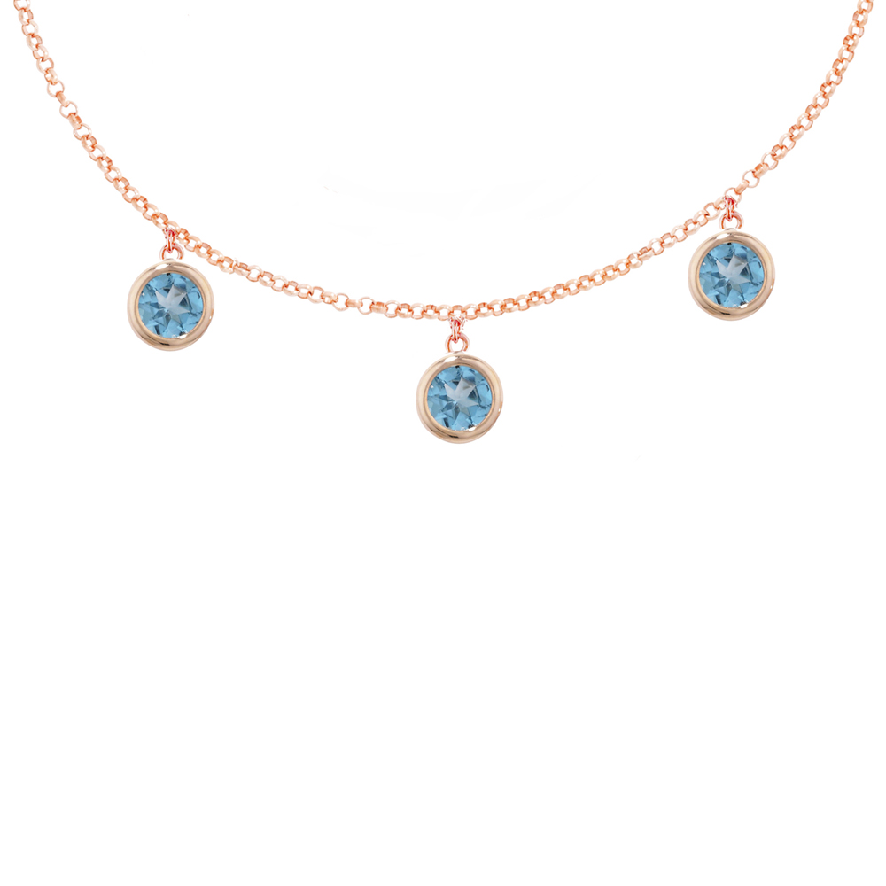 London Road Jewellery Elegant Rose Gold Blue Topaz Dew Drop Bracelet Ts1qtx