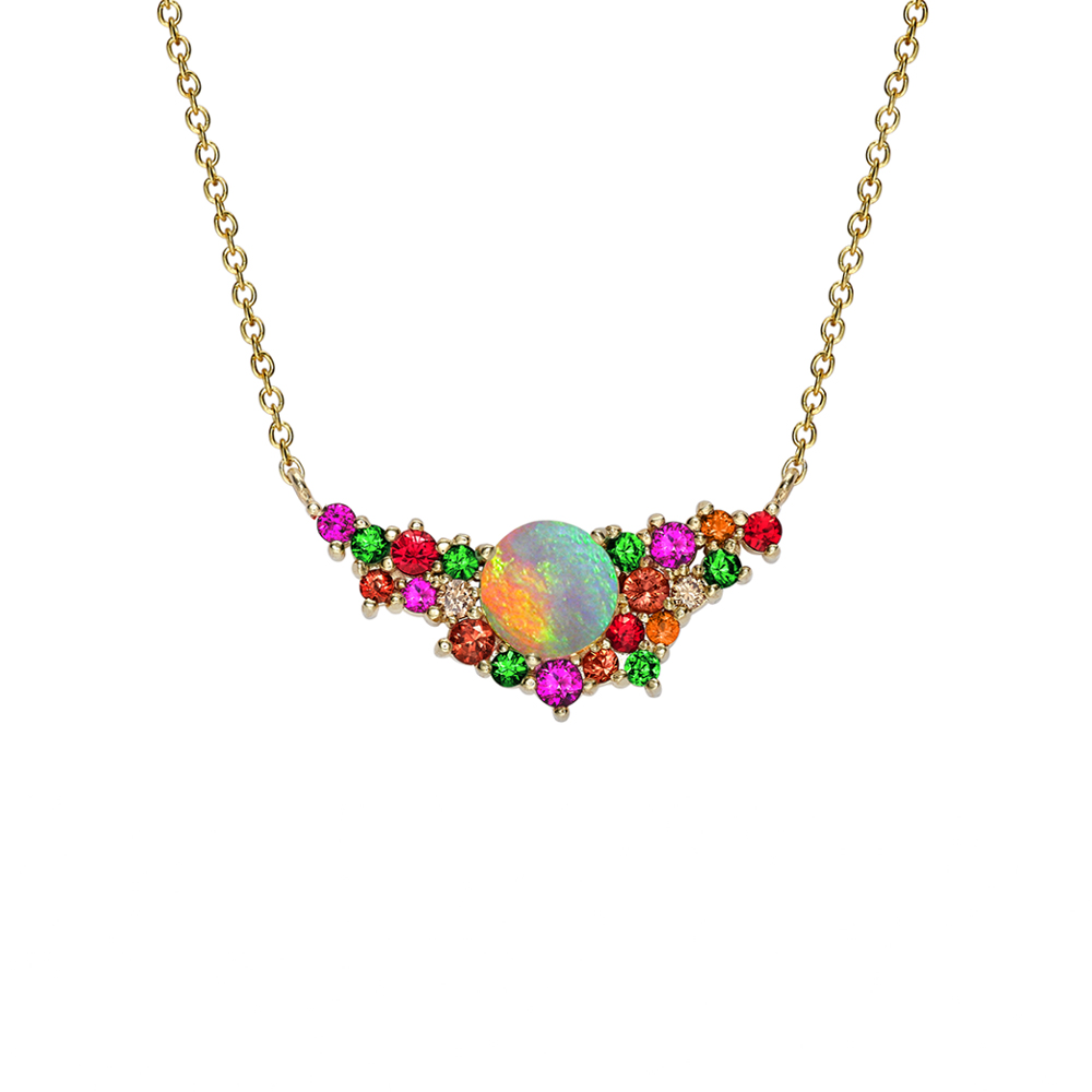 Yellow gold multi stone harlequn necklace