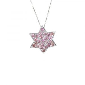 White gold pink sapphire star pendant