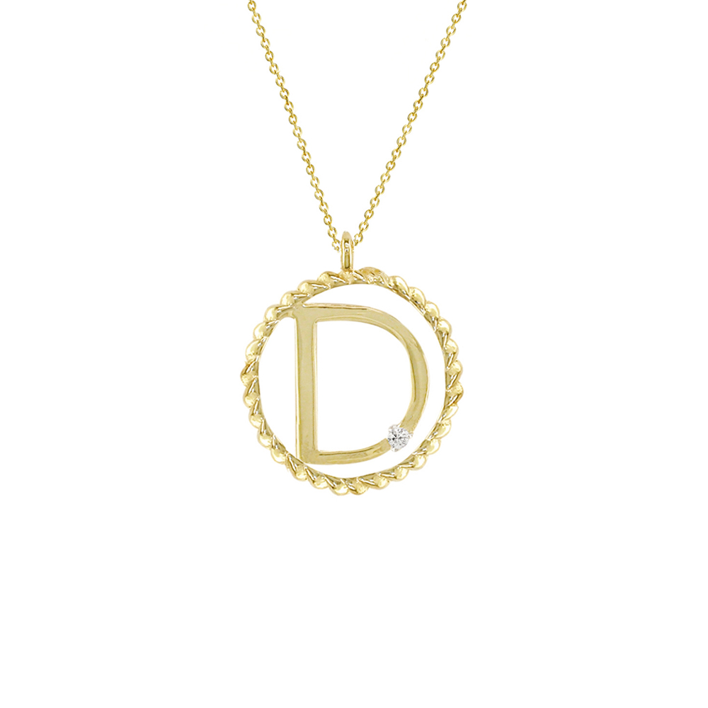 Gold And Diamond Initial Pendant