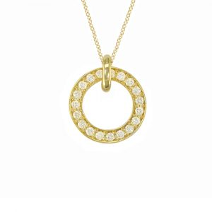 Yellow gold diamond Meridian large pendant
