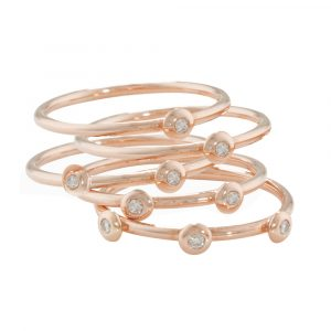 Rose gold diamond stack rings