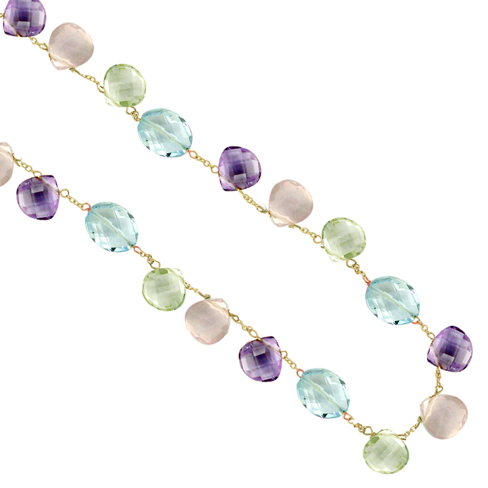 Yellow gold amethyst rose quartz green amethyst blue topaz necklace