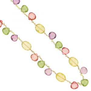 Yellow gold green purple red blue necklace