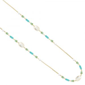 Yellow gold multi gem necklace