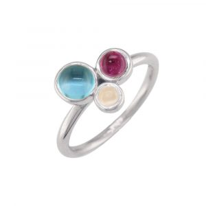 White gold moonstone, blue topaz, pink tourmaline Bubble ring