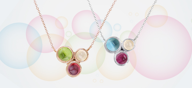 Rose gold, White gold multi gems necklaces