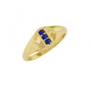 Yellow gold sapphire birthstone signet ring