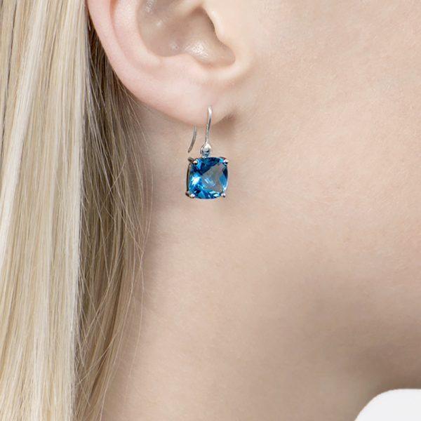 White gold blue topaz drop earrings