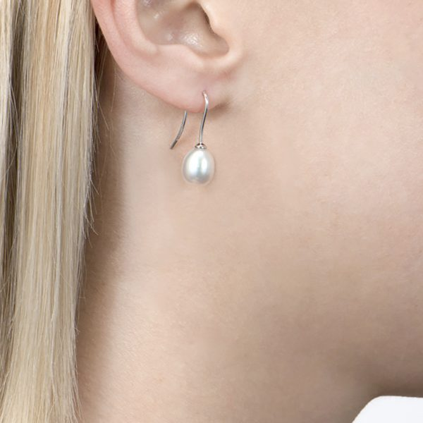 White Gold Teardrop Pearl Earrings