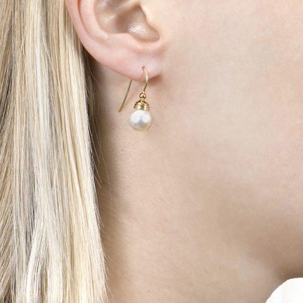 Yellow Gold White Pearl Ball Drop Earrings