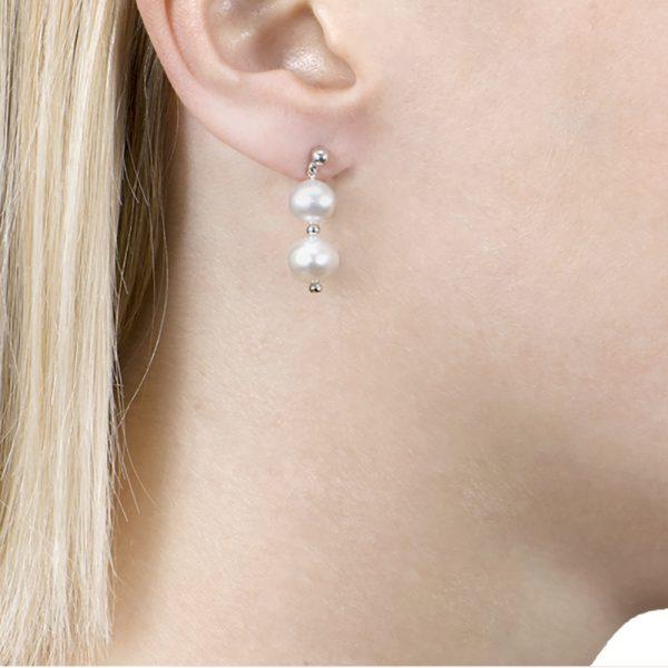 White Gold Graduated Pearl Drop Earrings