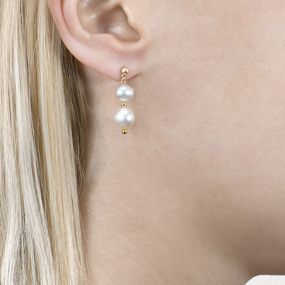 Yellow Gold Graduated Pearl Drop Earrings