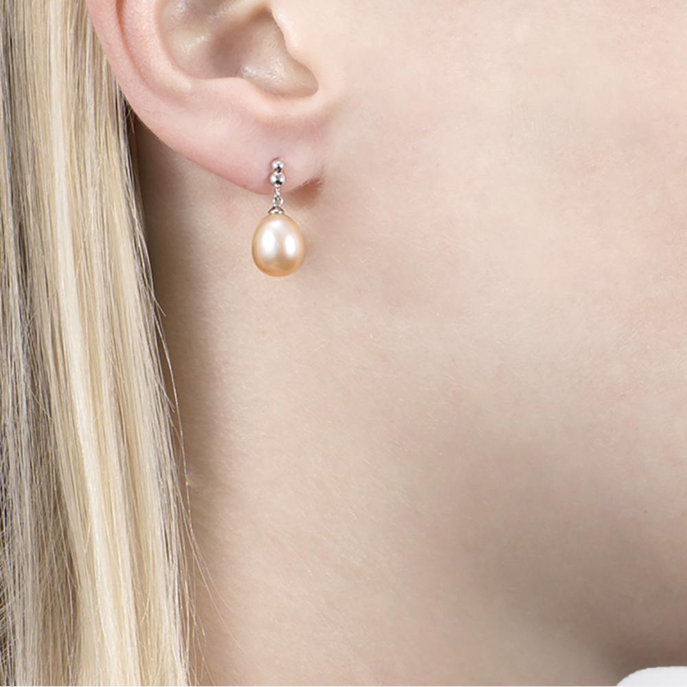 White Gold Pink Pearl Bead Drop Earrings