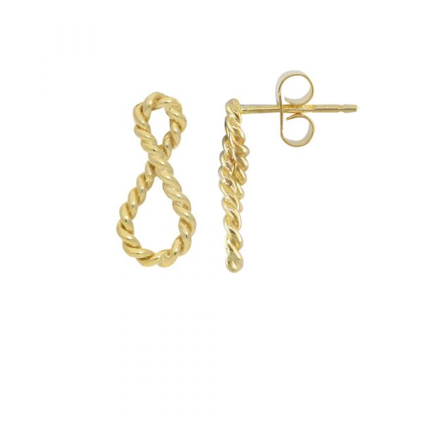 Yellow Gold Infinity Drop Earrings