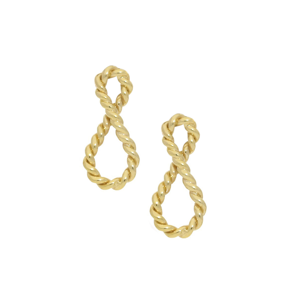 Infinity drop earrings yellow gold