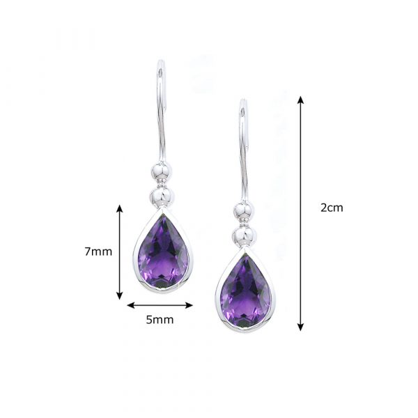 White gold amethyst drop earrings