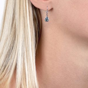 White gold aqua drop earrings