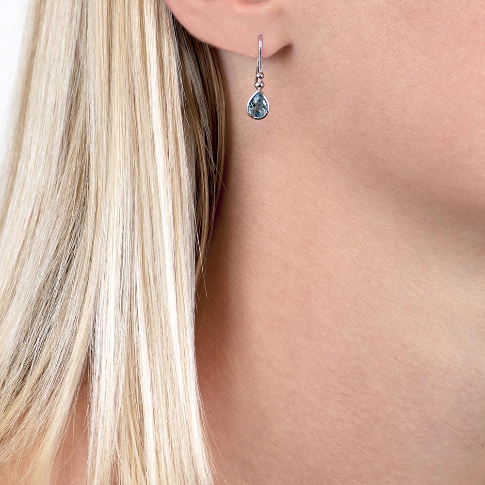 White gold aqua drop earrings