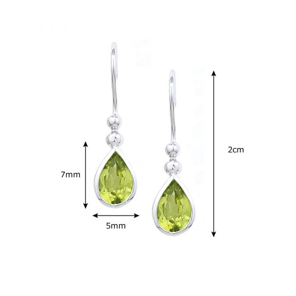 White gold peridot drop earrings
