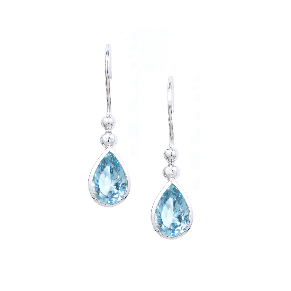 White gold aquamarine drop earrings