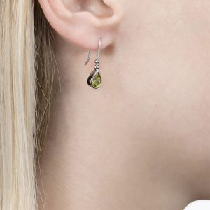 White Gold Peridot Bead Drop Earrings