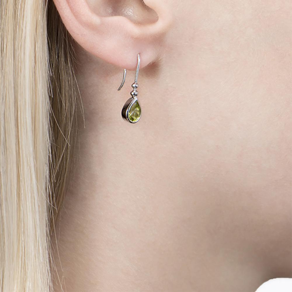 White Gold Peridot Bead Drop Earrings