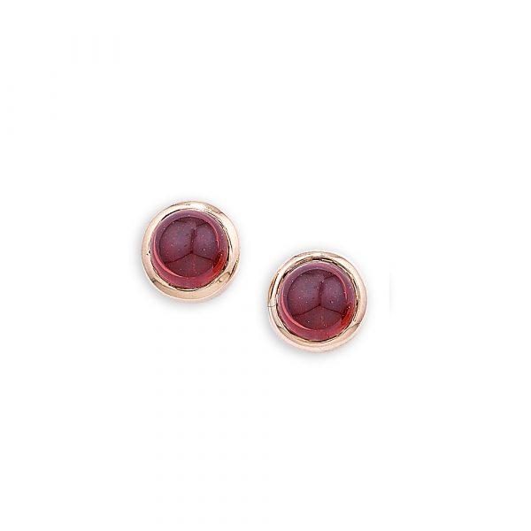 Rose gold garnet Bubble stud earrings