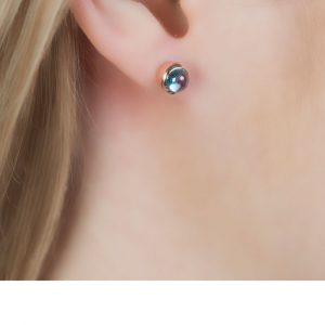 Bubble Rose Gold Blue Topaz Stud Earrings