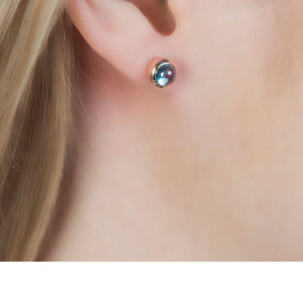 Bubble Rose Gold Blue Topaz Stud Earrings