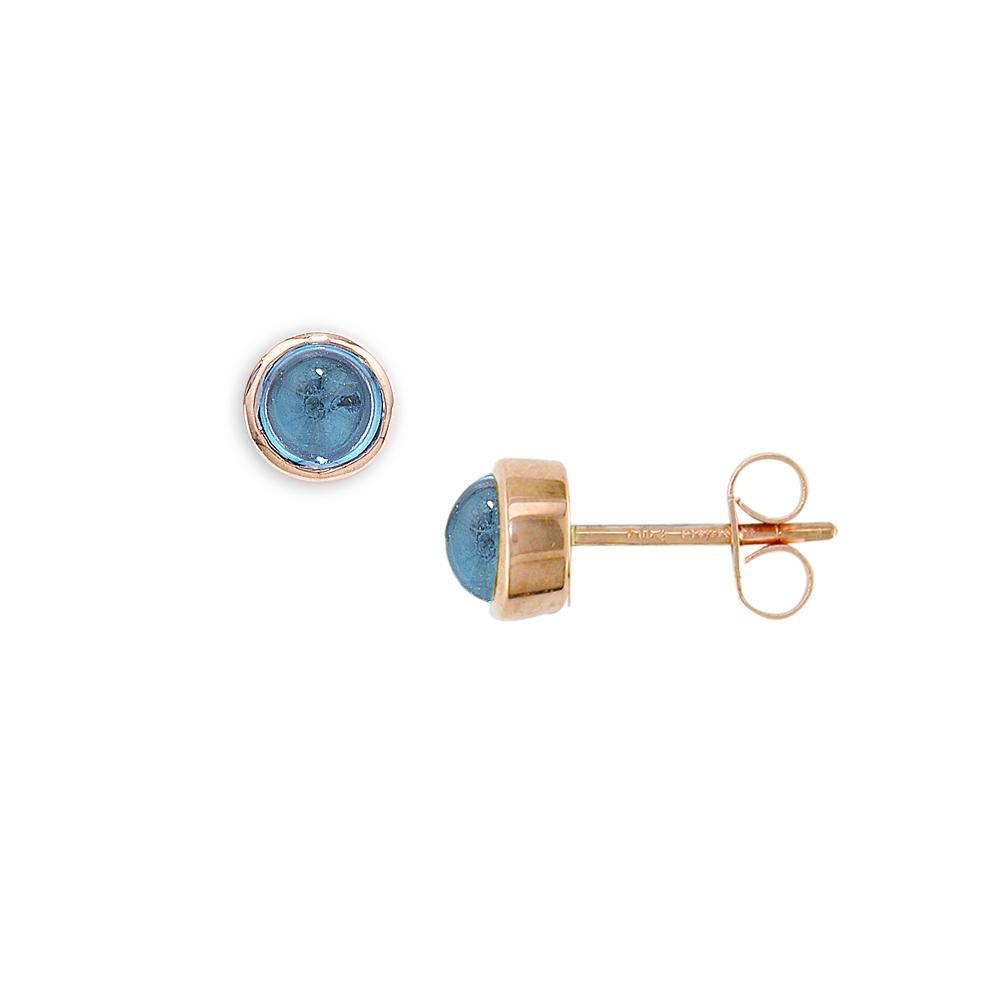 Rose gold blue topaz earrings