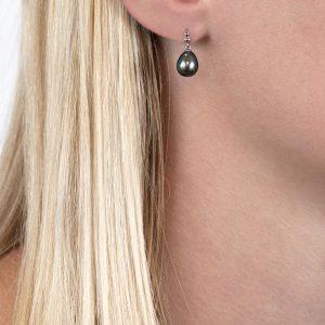 White gold grey freshwater drop earrings