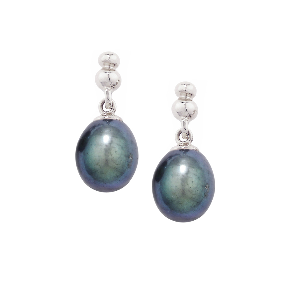 White gold grey pearl drop earrings