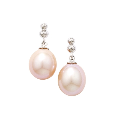 Pink Cultured Freshwater Pearl Drop Earrings White Gold