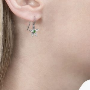 White gold tsavorite drop earrings