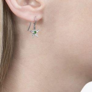 White gold tsavorite drop earrings