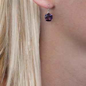 White gold amethyst cushion drop earrings